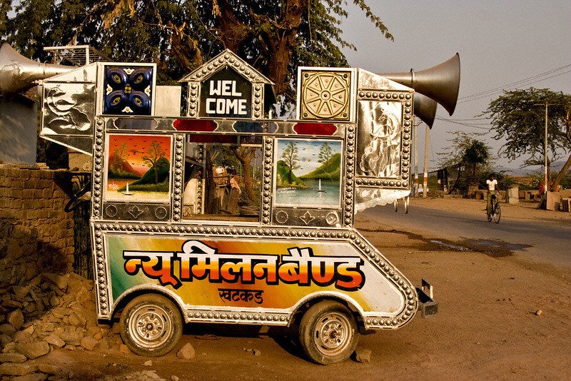 A music band vehicle used for weddings parked on a road side in Rajasthan