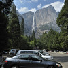 View of the Yosemite falls from the parking lot in the Yosemite national park, California.