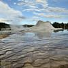 Castle geyser the geyser basin in Yellowstone national park