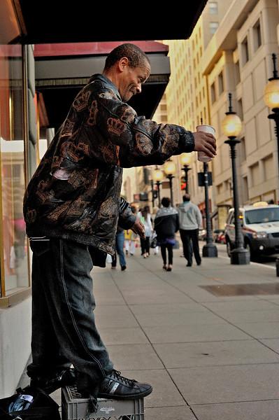 Homeless pan handler in down town San Francisco, California, USA