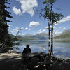 Camper in the Kitla lake in Glacier national park during the summers