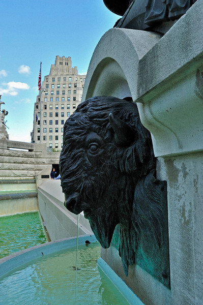 Sculpture of a bison head in down town Indianapolis, USA on Sunday