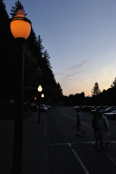 Nightfall on a street in Oregon, USA