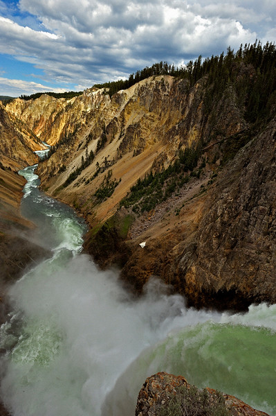 Lower waterfalls on the Yellowstone river canyon in Yellowstone national park
