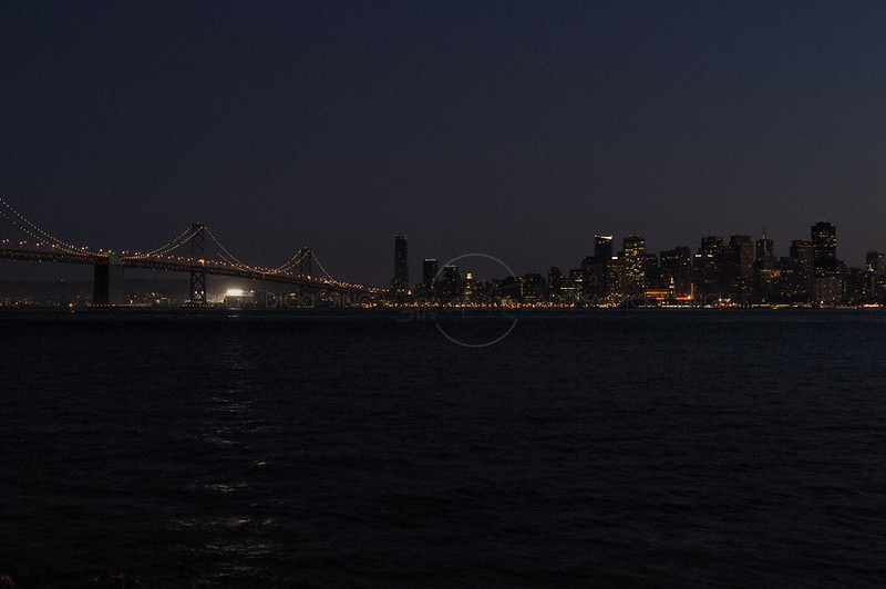 Oakland Bay Bridge in San Francisco at night