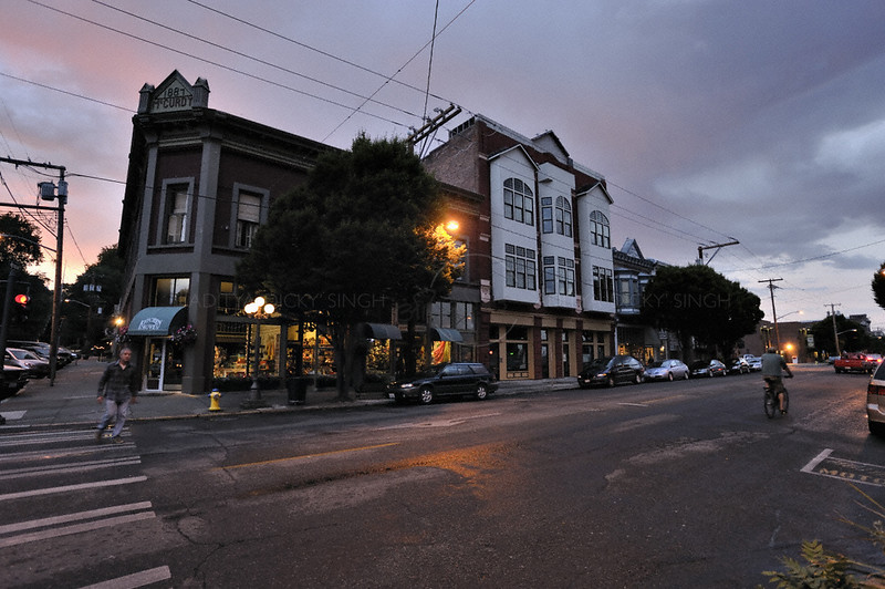 A building at dusk in Port Townsend in Washington state, USA