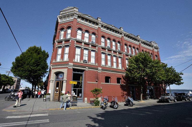 A red building in Port Townsend in Washington state, USA
