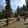 Visitors on a bridge over a stream in Yosemite national park, California, USA