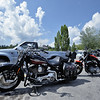 Harley Davidson motorcycles in a parking lot in Montana, USA