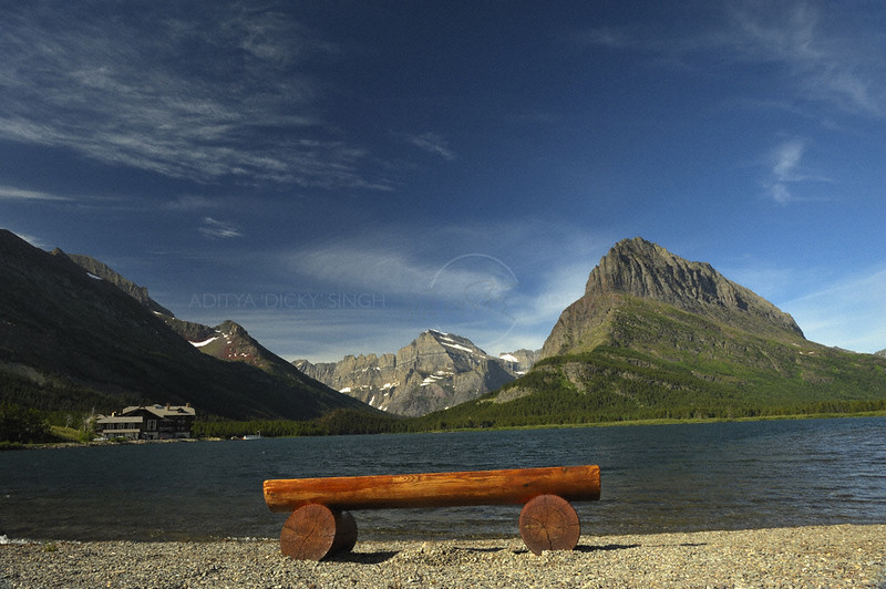 Swift current lake in the Many Glaciers area of the Glacier national park in Montana, USA