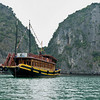 A boat docked in the Catba island, Halong Bay, northern coast of Vietnam