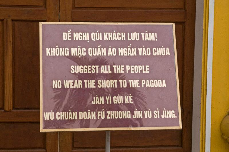 Signboard in Vinglish in a pagoda in Hanoi