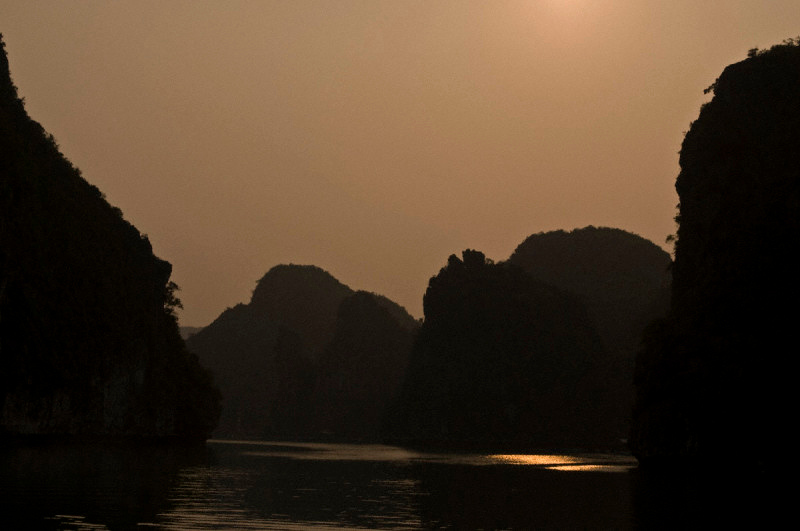 Halong Bay in the north coast of Vietnam, at sunset
