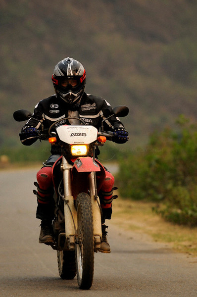 Riding a motor cycle in Vietnam