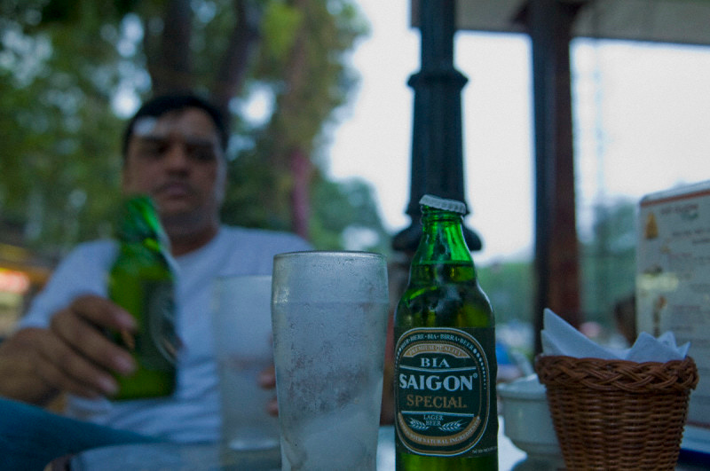 Silky drinking Saigion beer in Hanoi - talk about being confused