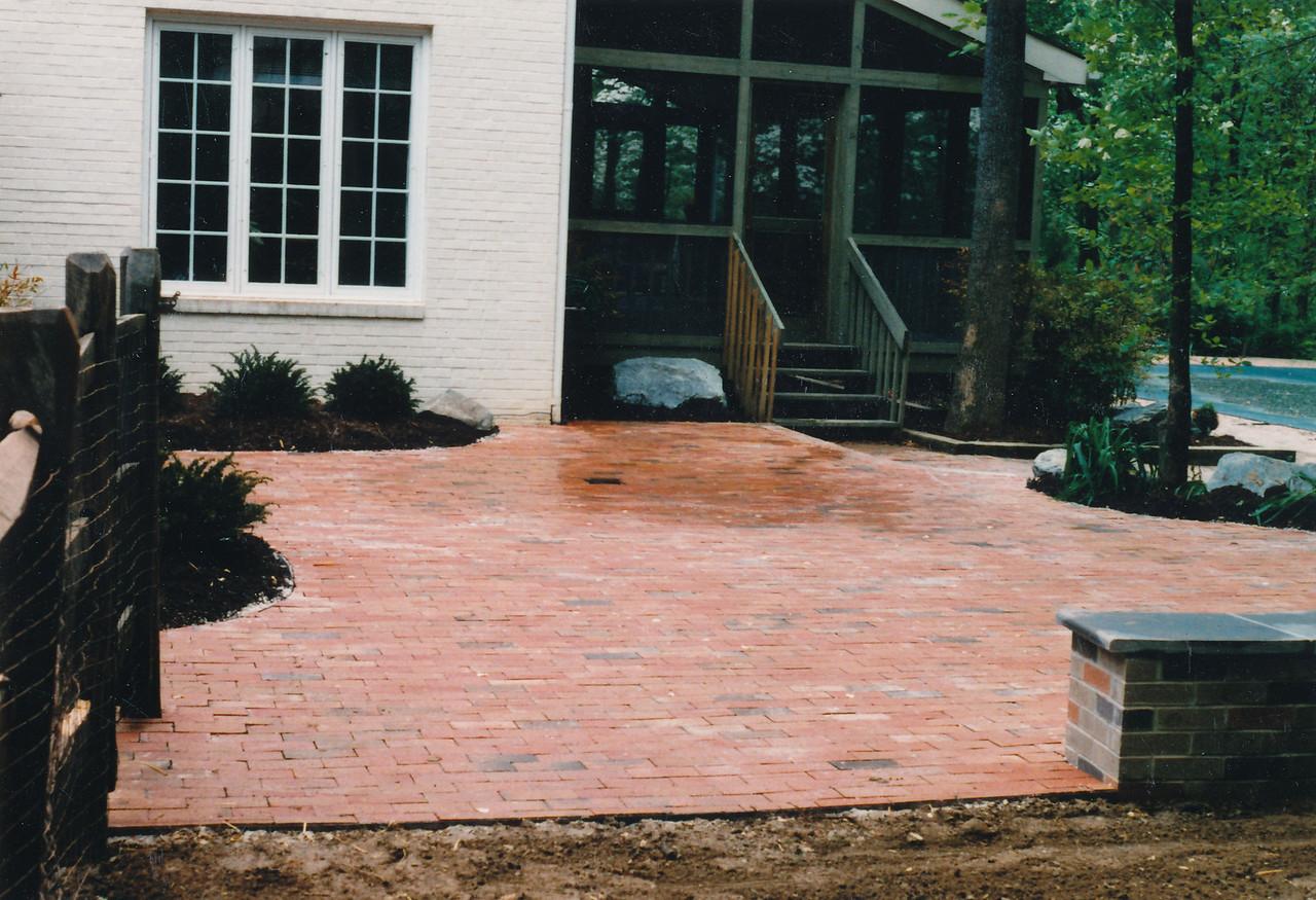 Simple brick patio, late 1980s