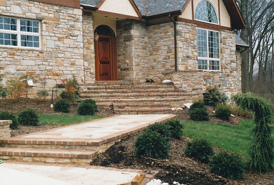 Paver walkway and steps with brick borders