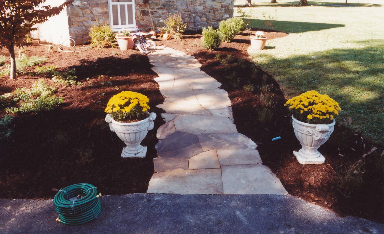 Irregular flagstone walkway