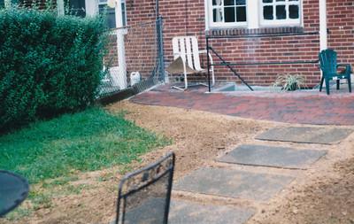 appian paver patio with large bluestone slab walkway