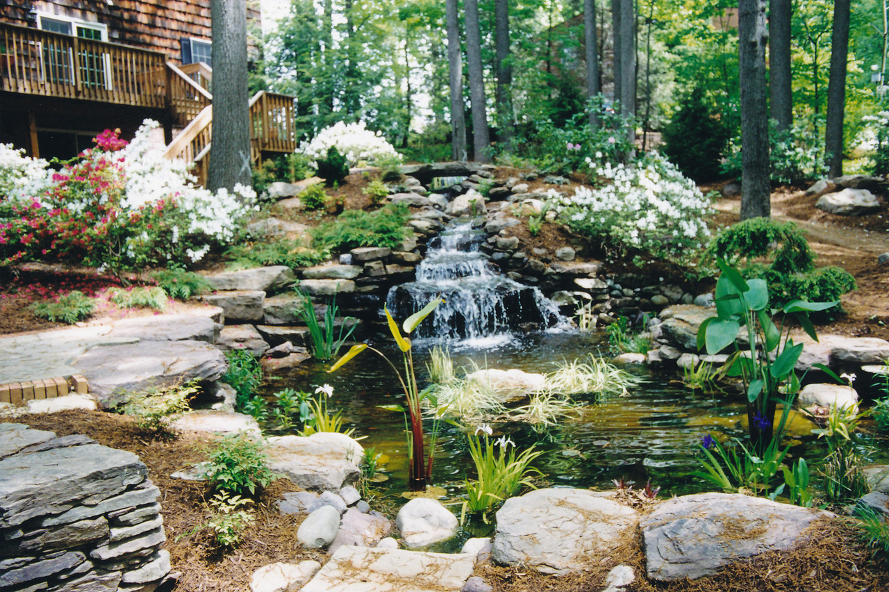 Sharbaugh, after completion of pond and waterfalls
