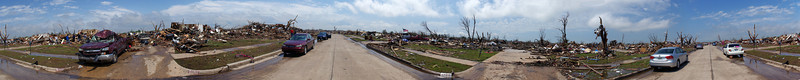 """Moore, OK - panoramic of tornado damage on one street - this is a huge photo, hit the """"O"""" link up top to see original size"""