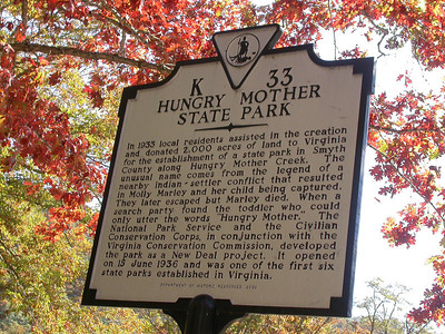 Hungry Mother State Park Sign.