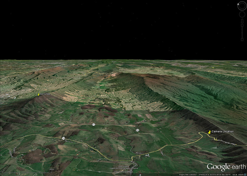 Camera Location on VA16  Google Earth image of the camera location with Wynne Peak bookmarked for orientation.