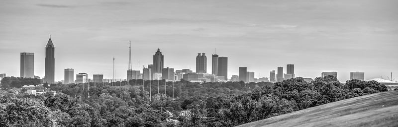 Black and White City of Atlanta Skyline