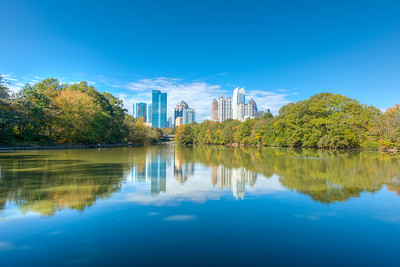 Midtown Atlanta Skyline over Lake Clara Meer