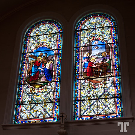 Stained glass window in St. Mary Cathedral, Briar Island, Nova Scotia
