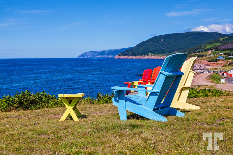 Lounge chairs and view of Pleasant Bay (Cape Breton, Nova Scotia) - we spent few days in this beautiful area.<br /> Aug 4, 2010