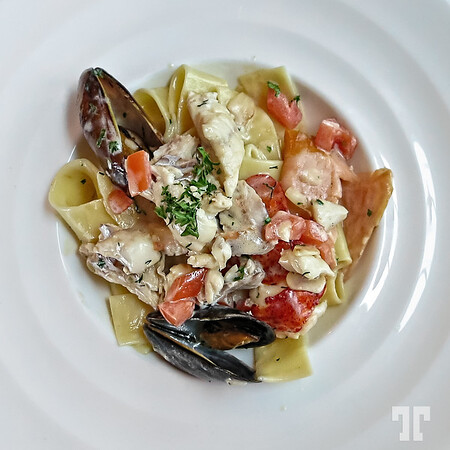 Fresh seafood pasta in Nova Scotia