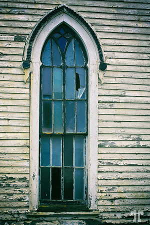Abandoned church window - Pubnico, Nova Scotia