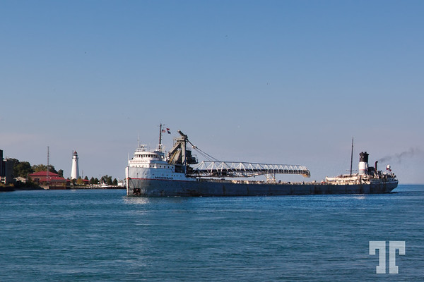 Cargo boat crossing Lake Huron in Sarnia, Ontario
