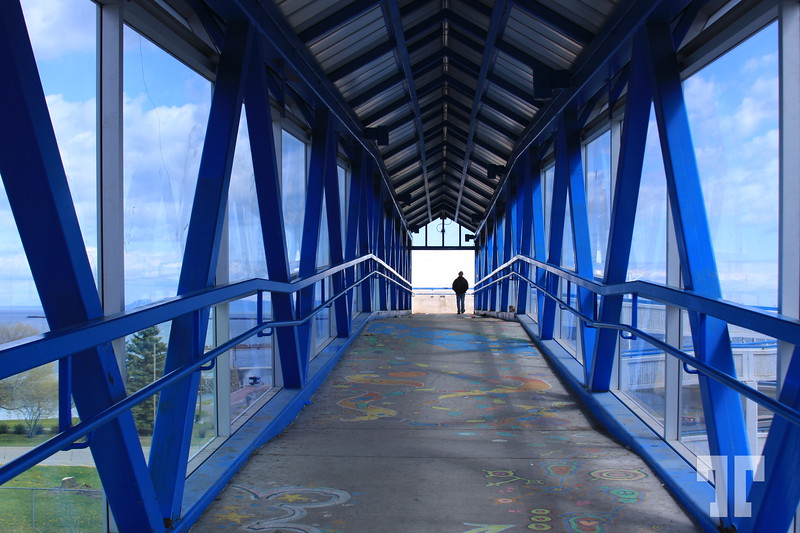 Blue painted bridge in Thunder Bay Ontario,  Canada