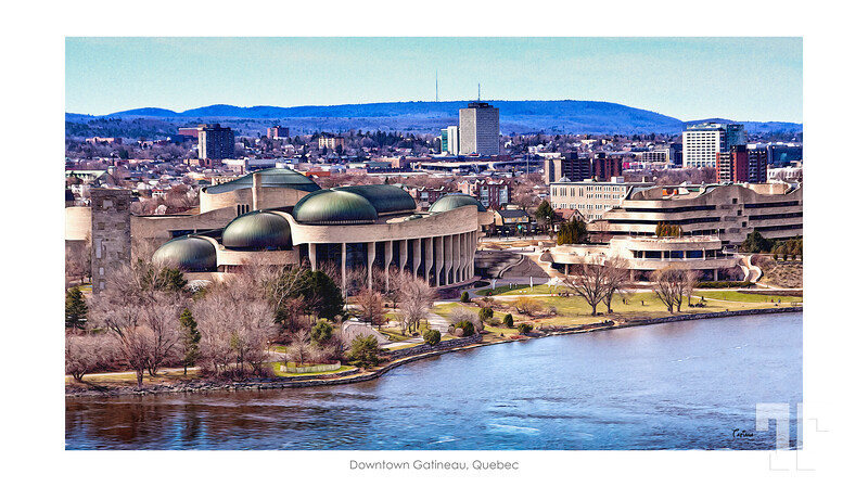 Apr, 13, 2012  Downtown Gatineau, Quebec - the French side of Ottawa River - View from the Parliament Hill, Ottawa  * No buds in the trees yet :)  ** Yes, I made it like a painting :)