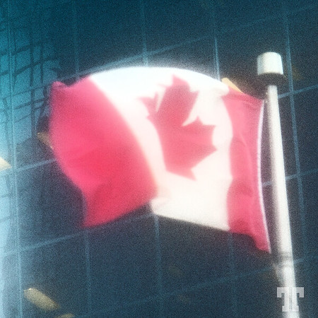 Canadian Flag in wind and fog - Ottawa