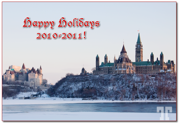 Merry Christmas and Happy Holidays to all of you!  This is the Canadian Parliament in Ottawa Canada viewed from the other side of  Ottawa river, who separates Ontario from Quebec. Ottawa