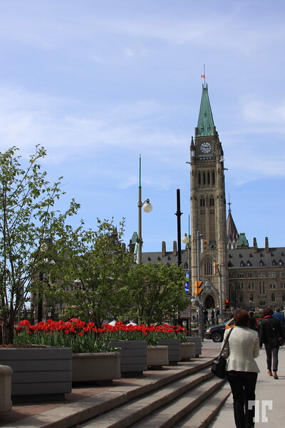 Part of the Parliament building in Ottawa, Canada