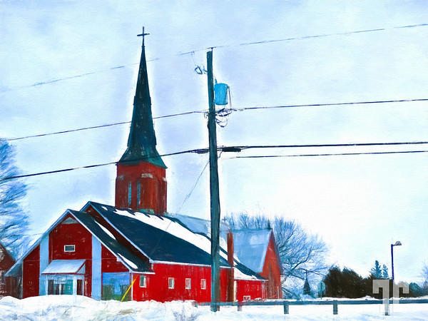 red-church-Lafontaine-Ontario-COLORED-PENCIL