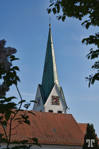 Church tower in a small village of Lindau area, Lake Constance (Bodensee)