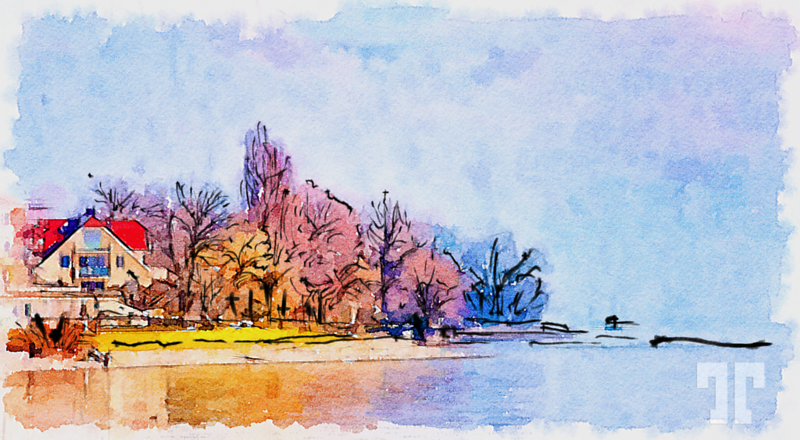 Watercolor of Lake Constance, Germany