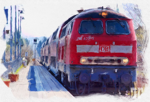 Red train painting