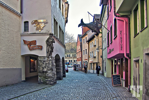 Cobblestone street in Lindau, Germany - on Lake Constance