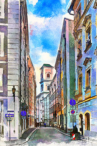 Passau-street-perspective-watercolor