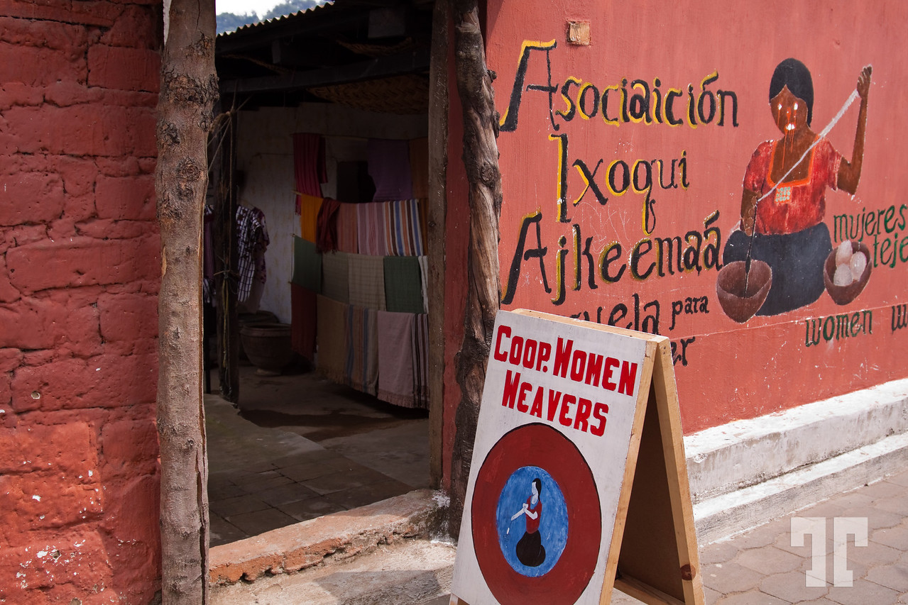 Coop Women Weavers sign, Guatemala