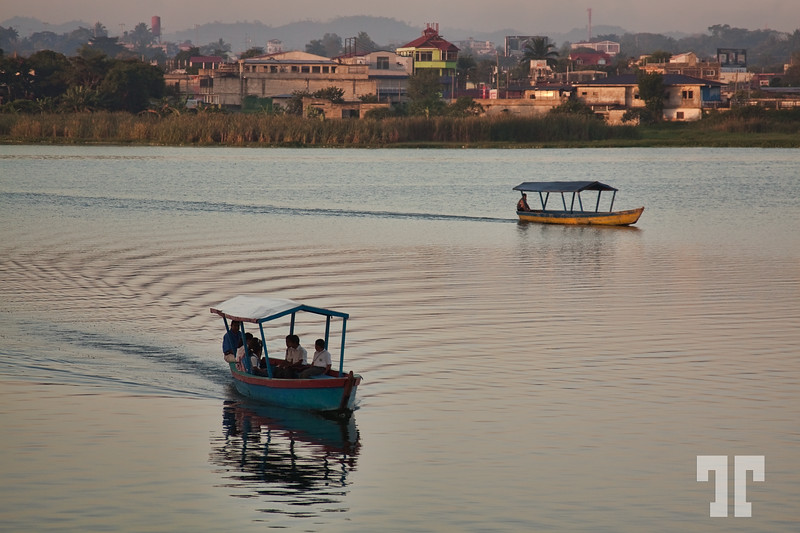Water taxis at dusk