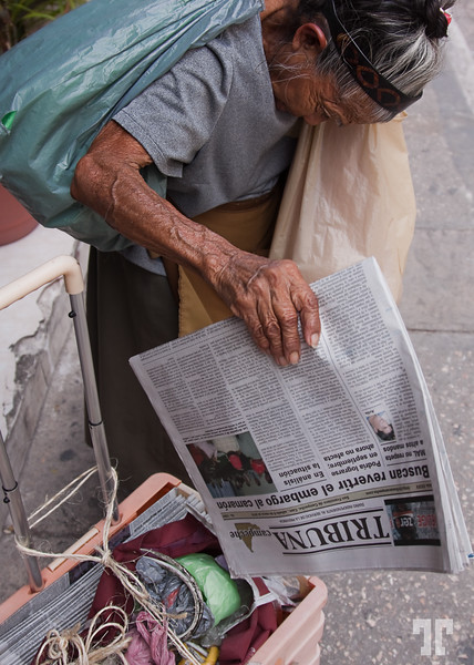 March 7, 2010  Newspaper vendor in Campeche, Mexico