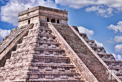 Kukulkan Pyramid, the main pyramid at Chichen Itza, the Mayan Mexican site  Sorry I haven't posted for fe days, but I've been very busy with my business and didn't have the time to choose and edit any photos...