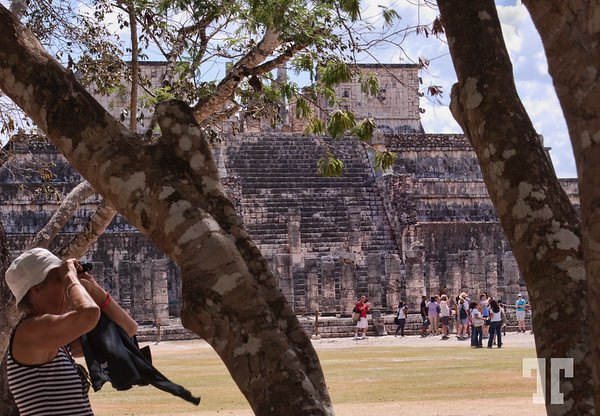 14 March 09  Chichen-itza, Yucatan, Mexico  The temple of warriors in full touristic season. *Everybody was looking for these shady places to take a break from the hot sun  Here you can hear: Spanish, Italian, French, English, German, Russian, Japanese,  and maybe even other languages that we couldn't recognize :)